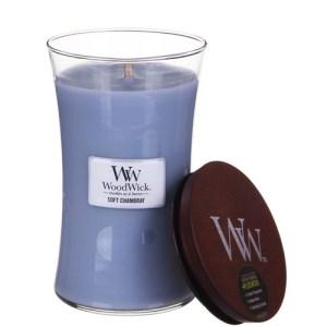 Woodwick Soft Chambray vela grande
