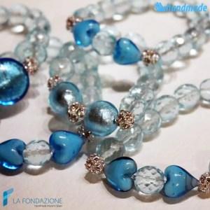 Tris Lustro Azzurri - Bracciale in vetro di Murano