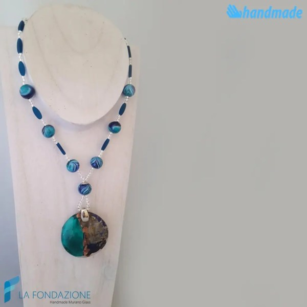 Collana Calcedonio Fenicio in vetro di Murano - COLL0082
