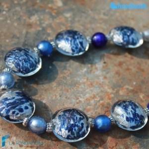 Collana Schissa Luna Blu in vetro di Murano - COLL0085