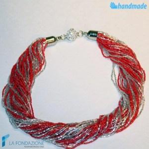 Collana Torchon 48 fili Lucida con argento - COLL0092