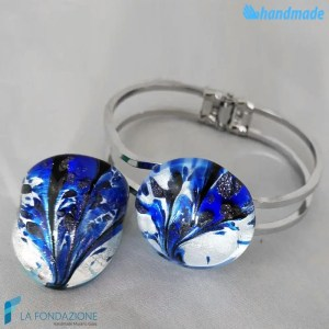 Parure Peacock Asso with ring and rigid bracelet made in Murano Glass - PARU0043