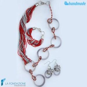 Parure Boop Magic con collana, orecchini e braccialetto in vetro di Murano - PARU0044