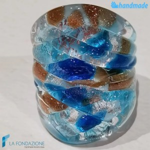 Harlequin Frozen band ring made in Murano glass - RINGS0077