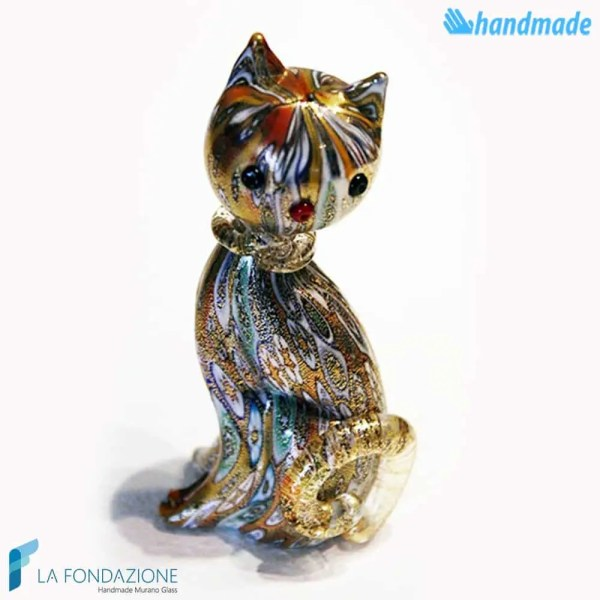 Kitten Murrine made in Murano glass - SCUL014