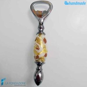 Cream and Lemon Bottle Opener made in Murano glass - CAVA0016