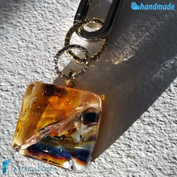 Portachiavi Calcedonio Acquario Ambra in vetro di Murano - KEY007