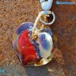 Portachiavi Calcedonio Cuore Rosso in vetro di Murano - KEY009