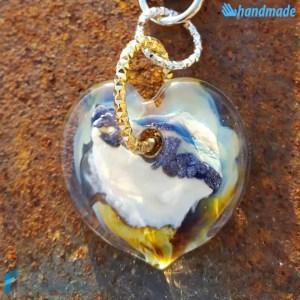 Portachiavi Calcedonio Cuore Avorio in vetro di Murano - KEY010