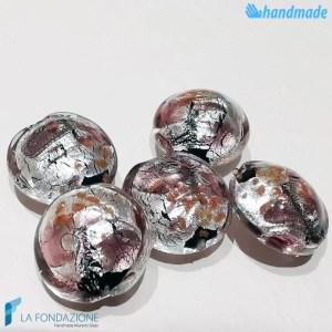 Perle Schisse Onda Rosa 16mm in vetro di Murano - PERLA001