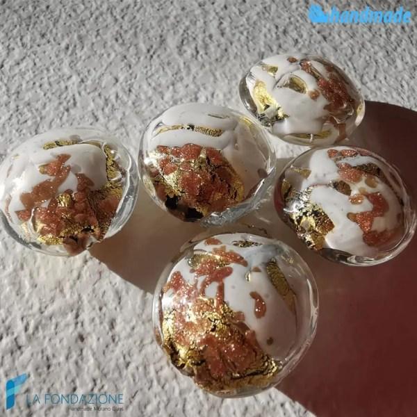 Perle Schisse Onda Avorio in vetro di Murano - PERLA006