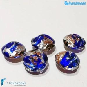 Perle Schisse Onda Blu in vetro di Murano - PERLA007