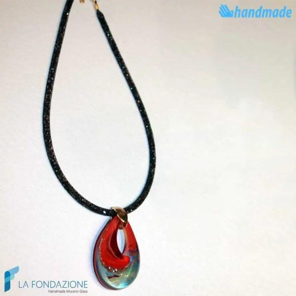 Pendente Goccia Calcedonio Rosso con collarino in rete di cristalli in vetro di Murano - PEND0054