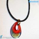 Pendente Goccia Calcedonio Rosso con collarino in rete di cristalli in vetro di Murano – PEND0054
