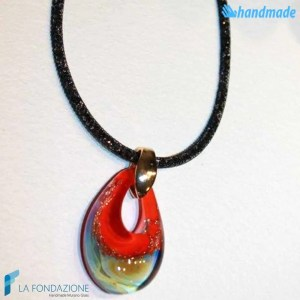 Red drop-shaped pendant in Chalcedony with crystal net collar made in Murano glass - PEND0054
