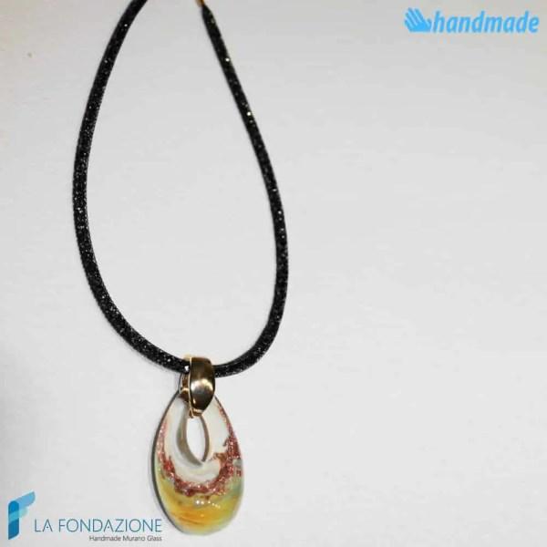 Pendente Goccia Calcedonio Avorio con collarino in rete di cristalli in vetro di Murano - PEND0058