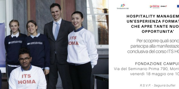 La cerimonia conclusiva del corso ITS in Hospitality Management