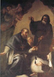 Michele Foschini, San Francesco di Paola consegna il cordone dell'Ordine a San Francesco di Sales e la beata Giovanna di Valois