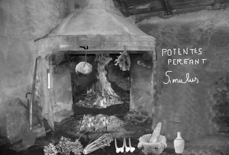 Nella ricostruzione fotografica gli ingredienti e gli attrezzi per la preparazione del moretum come descritto nell'omonimo poemetto: formaggio, aneto, coriandolo, ruta, sedano, aglio, mortaio con pestello e oliera. Sulla parete il graffito (di mia invenzione …) POTENTES PEREANT. Simulus (Morte ai potenti! Simulo).