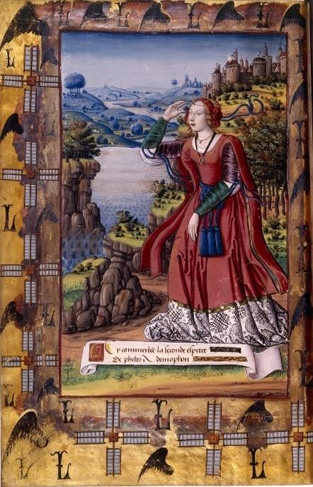 Fillide scruta il ritorno di Demofonte, miniatura di un manoscritto del XVI secolo delle Eroidi di Ovidio