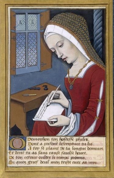Fillide scrive a Demofonte, miniatura di un manoscritto del XVI secolo di una traduzione delle Eroidi di Ovidio
