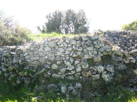 particolare del muro sul lato est