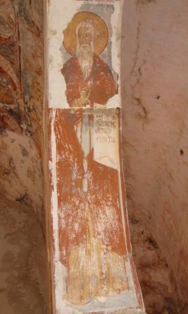 uno degli affreschi sul sottarco dell'abbazia di san Mauro