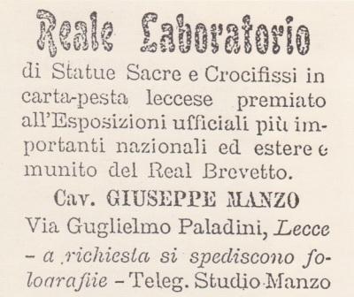 Manifesto pubblicitario del reale laboratorio di Giuseppe Manzo