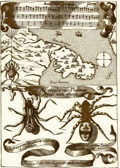 Antidotum Tarantulae. Dal Magnes sive de magnetica  arte (1644) del P. Atanasio Kircher
