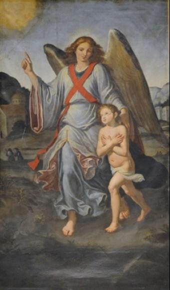 Lecce, Chiesa di Sant'Irene, Giovan Bernardo Azzolino, Angelo Custode, olio su tela (cm.280x160), foto Sovrintendenza B.S.A.E. di Puglia