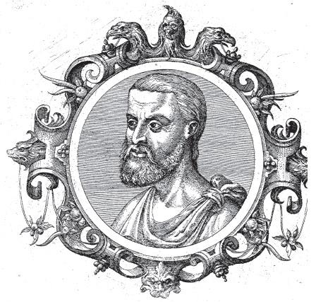 Nicandro, immagine tratta da Icones veterum aliquot ac recentium medicorum philosophorumque elogiolis suis editae, opera I. Sambuci, Auterpiae, 1574.