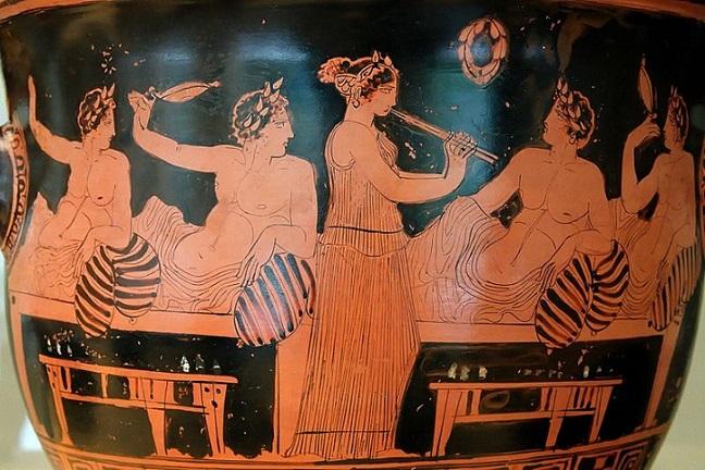 Pittore di Nikias, Simposio, vaso attico del V secolo a. C., Museo Archeologico nazionale di Spagna, Madrid