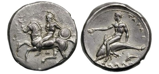 moneta di Taranto ( IV secolo a. C.); immagine tratta da http://www.wildwinds.com/coins/greece/calabria/taras/Fischer_649.jpg