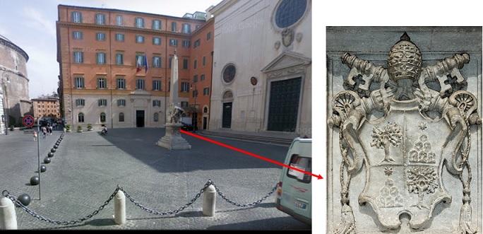 Roma, Piazza della Minerva/stemma dei Chigi alla base del Pulcino della Minerva, monumento realizzato dal Bernini nel 1667, a poco più di un mese dalla morte di Alessandro VII che glielo aveva commissionato. immagini tratte, rispettivamente da Google Maps e da http://upload.wikimedia.org/wikipedia/commons/3/30/COA_Alexander_VII_Chigi.jpg?uselang=it