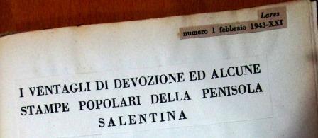 I VENTAGLI DI DEVOZIONE, G. PALUMBO pag.1 ( testata articolo)