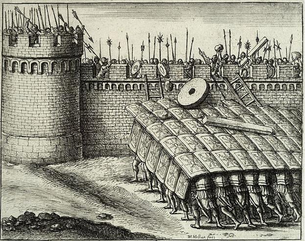 La ricostruzione della testudo in una stampa di Venceslaus Hollar (XVII secolo) custodita nell'Università di Toronto (immagine tratta da http://link.library.utoronto.ca/hollar/digobject.cfm?Idno=Hollar_k_0650&query=Hollar_k_0650&size=large&type=browse)