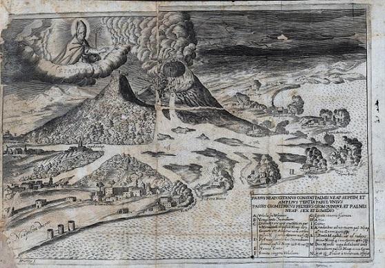 L'eruzione del 1631 in un'incisione di Nicolas Perry; tavola tratta da Francesco Balzano, L'antica Ercolano, overo La Torre del Greco, tolta all'obblio, Paci, Napoli, 1688