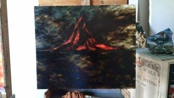 Vulcano di Sibilla in notturno catramoso