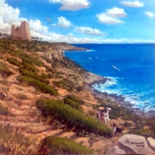 Daniele Bianco, Cavalcata a Torre Uluzzo, olio su tela