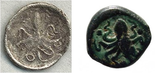 Il verso di due  monete siracusane rispettivamente del 474-450 e del 400 a. C. circa.