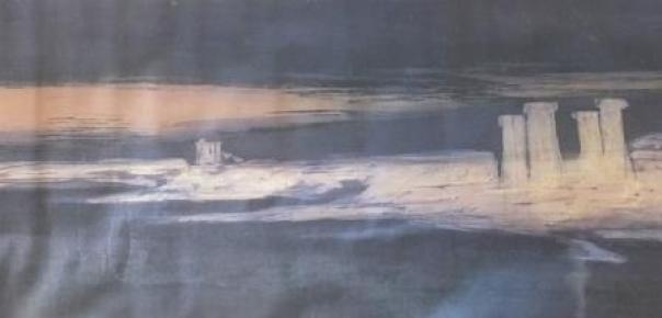 Litorale neretino - dettaglio (tecnica mista su tessuto) 180 x 70