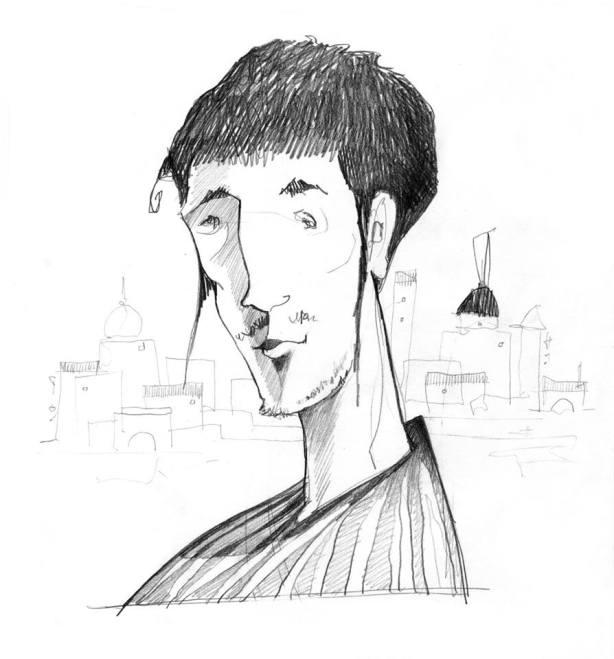 Il poeta - 2010 - bozzetto per studio di un personaggio - grafite su foglio A4