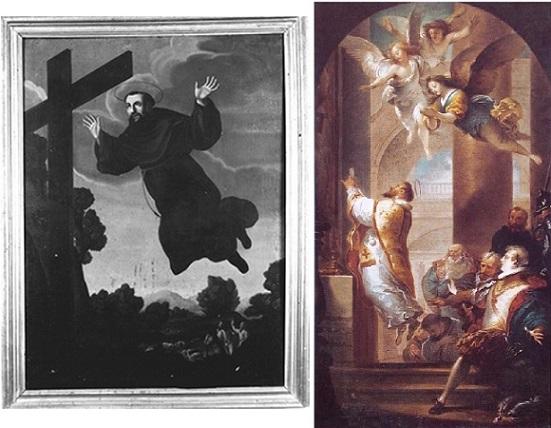 Immagini tratte, rispettivamente, da http://www.culturaitalia.it/opencms/viewItem.jsp?language=en&case=&id=oai%3Asirpac.cultura.marche.it%3A8474 e da http://sangiuseppedacopertino.net/san-giuseppe-nellarte/#!prettyPhoto[1]/http://sangiuseppedacopertino.net/wp-content/gallery/san-giuseppe-nell-arte/Roma-SS.-Apostoli-Giuseppe-Cades-Estasi-durante-la-S.-Messa.jpg