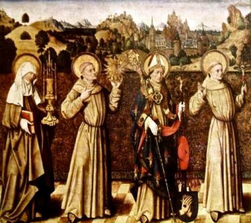 1Fig. 1. Colonia,  Wallraf-Richartz Museum, Santi francescani, tavola del Meister der Verherrlichung Mariä