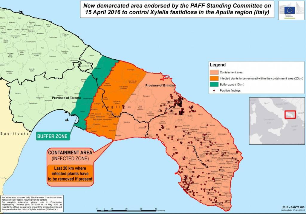Delimitazione delle aree al 15 aprile 2016