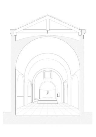 disegno ricostruttivo dell'antica chiesa a cura di Angelo Campo