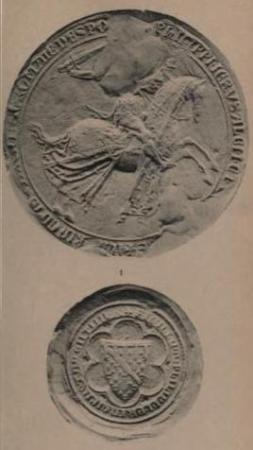 Fig. 10 Sigillo e controsigillo di Filippo I di Taranto, appeso ad un atto datato settembre 1321 (da G. Schlumberger, Sceaux et bulles des empereurs latins de Constantinople, Caen 1890, p. 26 e pl. VII).