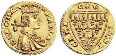 Fig. 5. Reale di Carlo I d'Angiò per Messina (1266-1277). Al rovescio, lo scudo d'Angiò antico