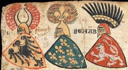 Fig. 7. Wappenrolle von Zürich (Zurigo, ca. 1330-1335), Zurigo, Schweizerisches Nationalmuseum, AG 2760, fol. 2r. Al centro l'arma piena del re di Francia.