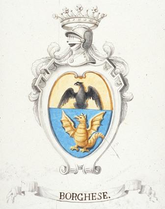 Fig. 4. Arma della famiglia Borghese, col capo dell'Impero. Raccolta Ceramelli Papiani, Firenze, Archivio di Stato, fasc. 894.